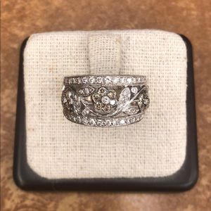 LeVian White Gold Chocolate Diamond Flower Ring